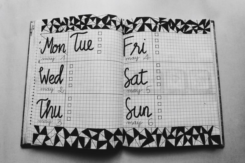 black and white calendar pages with triangle patterns